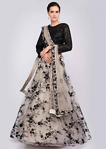 d2206b4ad5 Taupe grey resham embroidered net lehenga and dupatta with contrasting  black crop top only on Kalki
