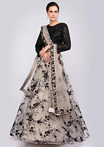5aea8ba832 Taupe grey resham embroidered net lehenga and dupatta with contrasting  black crop top only on Kalki