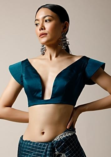 Teal Blouse In Milano Satin With Wide Plunging Neckline And Stiff Cap Sleeves Online - Kalki Fashion