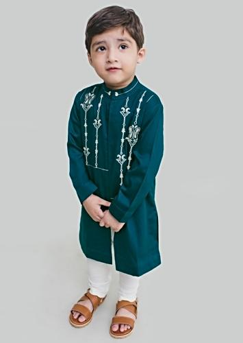 Teal Blue Kurta Set With Resham Embroidery In Persian Art Inspired Motifs By Tiber Taber