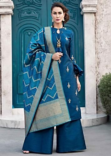 829e9000693a Teal blue straight palazzo suit with embroidered butti and brocade dupatta
