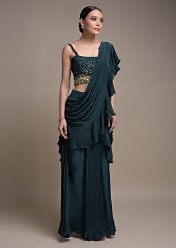 Teal Green Ready Pleated Saree In Crepe With A Pre Stitched Ruffle Pallu Online - Kalki Fashion