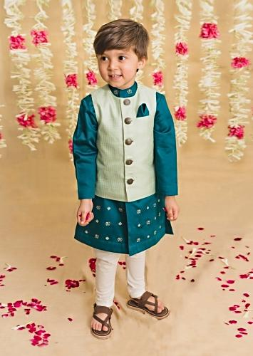 Teal Kurta Set With Elephant Motifs And Green Nehru Jacket With Kantha Work By Tiber Taber