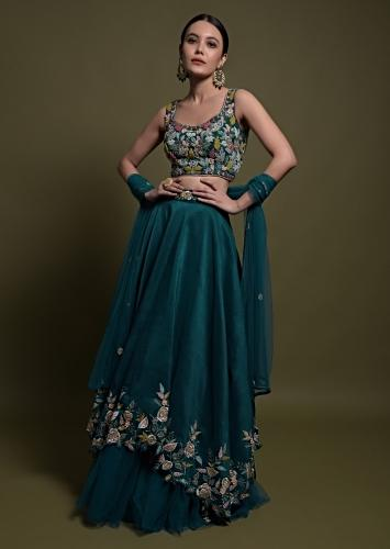 Teal Lehenga Choli In Cotton Silk With Fancy Cutout Hemline And Floral Embroidery Online - Kalki Fashion