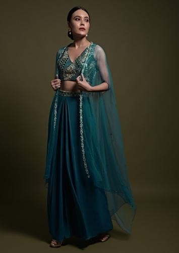 Teal Palazzo Suit With Hand Embroidered Crop Top And Net Jacket Online - Kalki Fashion