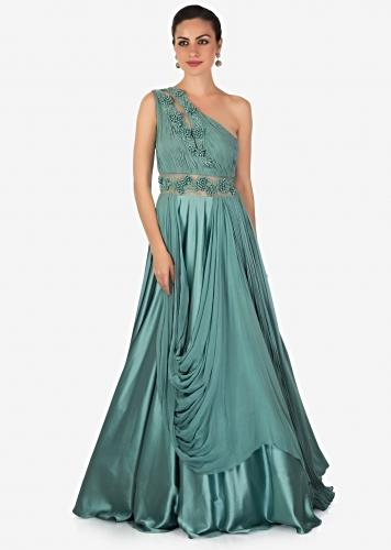179912881 Teal Satin Georgette Drape Gown Designed with French Knot and Potli Work  Only on Kalki
