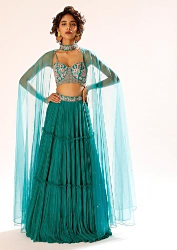 Teal Tiered Skirt And Bustier Set With Colorful Resham Embroidery And Choker With Attached Net Cape Online - Kalki Fashion