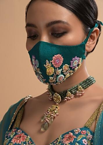 Teal Embroidered Face Mask In Raw Silk With Colorful Sequins, Cut Dana And Zardosi Flowers Online - Kalki Fashion