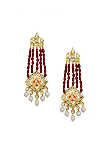 Timeless Kundan Polki Earrings With Hydro Ruby Bead Strings And Baroque Pearls Online - Joules By Radhika