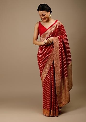 Tomato Red Saree In Georgette With Brocade Woven Diagonal Stripes And Floral Border Online - Kalki Fashion