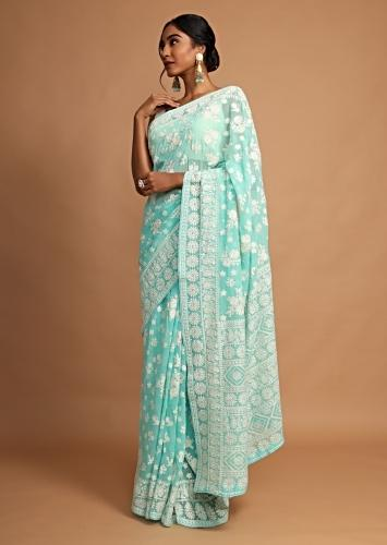 Turquoise Saree In Georgette With Lucknowi Thread Embroidered Floral Design Online - Kalki Fashion