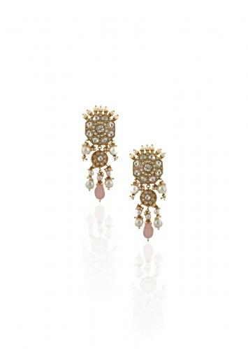 White Jadtar Stone Earrings In Floral Motif With Moti And Light Pink Beads By Riana Jewellery