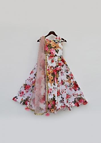White Lehenga And Choli In Georgette With Floral Print All Over By Fayon Kids