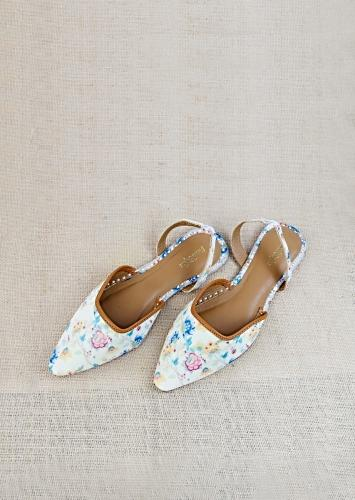 White Mules With Back Strap Featuring Multi Colored Floral Print And Braided Rose Gold Zari By Vareli Bafna