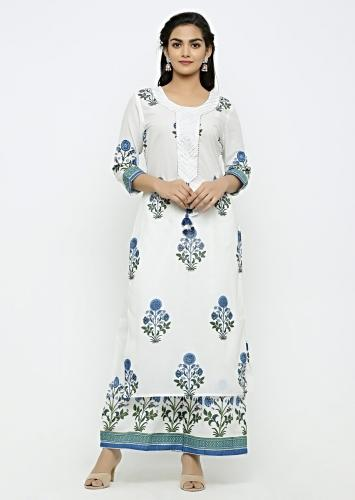 White Muslin Kurta With Floral Jaal And Delicate Gotta and Sequin Work Online - Kalki Fashion