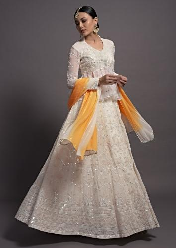White Peplum Top And Lehenga Set In Georgette With Mirror Embroidery Online Kalki Fashion