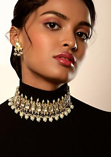 White Precious Stone Necklace And Earrings Set In Geometric Motif With Kundan And Dangling Moti And Bead Tassels By Kohar