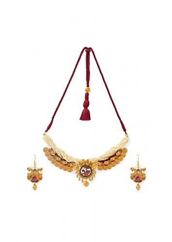 White Shell Pearls Necklace And Earrings Set With Carved Temple Motifs, Hydro Rubies And Emeralds Online - Joules By Radhika