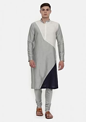White, Silver And blue Color Blocked Kurta And Churidar Set In Cotton Silk By Mayank Modi