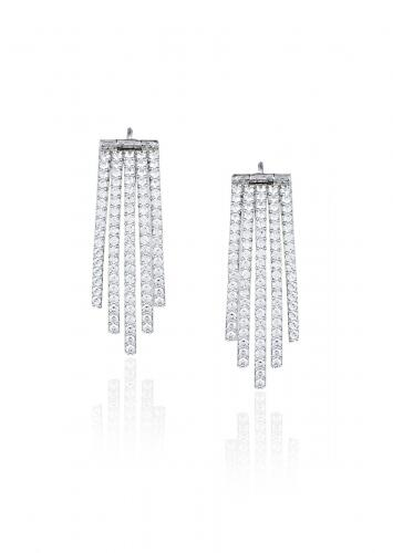 White Finish Earrings Studded With Faux Diamonds In Contemporary Stripe Design By Aster