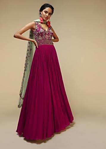 Wine Anarkali Suit In Georgette With A Heavily Hand Embroidered Bodice Featuring Multi Colored Resham And Beads Online - Kalki Fashion