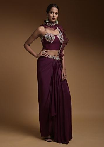 Wine Dhoti Skirt And Crop Top With An Attached Ruffle Pallu Online - Kalki Fashion