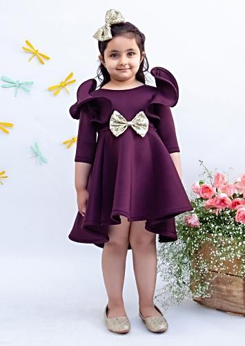 Wine Dress In Lycra With Ruffle Detailing And Golden Sequins Bow By Fayon Kids