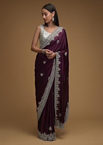 Wine Purple Saree In Chiffon Satin With Hand Embroidered Cut Dana Work Along With Unstitched Blouse Online - Kalki Fashion