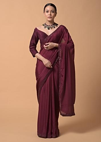 Maroon Saree In Chiffon With Scattered Moti Beads And Cut Dana Embellished Border Online - Kalki Fashion