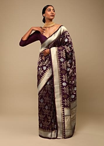 Wine Purple Saree In Pure Handloom Silk With Three Toned Woven Floral Jaal, Geometric Motifs On The Pallu And Unstitched Blouse Online - Kalki Fashion