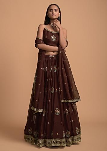 Wine Skirt And Crop Top Set In Organza With Colorful Resham Embroidered Floral Buttis Online - Kalki Fashion
