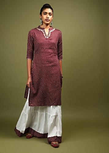 Wine Straight Cut Kurta And Skirt Set In Cotton With Wave Print And Gotta Embroidery On The Neckline Online - Kalki Fashion
