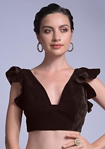 Wine Blouse In Velvet With A Trapeze Neck And Ruffle Sleeves Online - Kalki Fashion