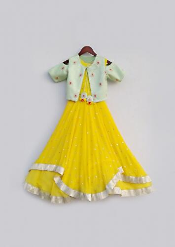 Yellow Anarkali Suit In Georgette With High-low Layers And Pista Green Cold Shoulder Jacket By Fayon Kids