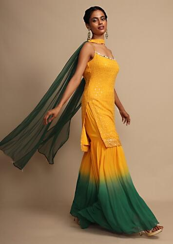 Yellow And Green Shaded Sharara Suit In Georgette With Resham Embroidery  Online - Kalki Fashion