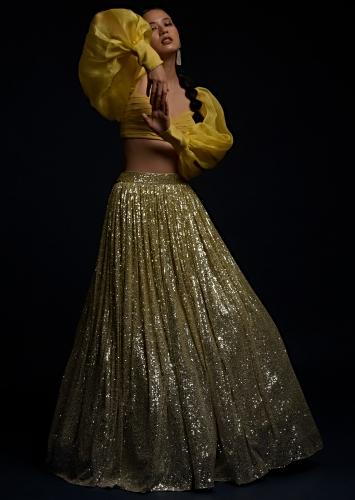 Yellow And Silver Ombre Lehenga In Sequins Fabric And Matching Organza Blouse With Fancy Puffed Sleeves Online - Kalki Fashion