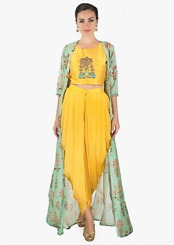 5cdd48f7fa9820 Yellow crop top matched with fancy dhoti pant and a full length floral  jacket only on