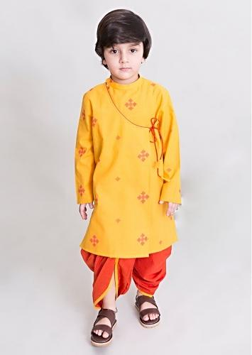 Yellow Dhoti And Kurta Set In Angrakha Style With Woven Buttis By Tiber Taber