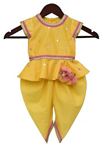 Yellow Dhoti Suit With Peplum Top Having Foil Printed Buttis By Fayon Kids