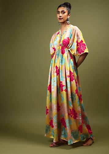 Yellow Kaftan Dress In Crepe With Multi Colored Floral Print And Zardosi Embroidered Placket Online - Kalki Fashion