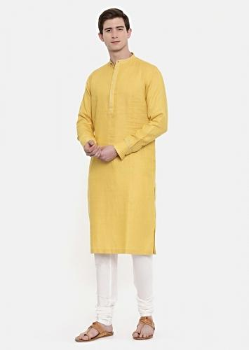 Yellow Kurta And Churidar Set In Linen With Subtle Hand Embroidered Placket And Cuffs By Mayank Modi