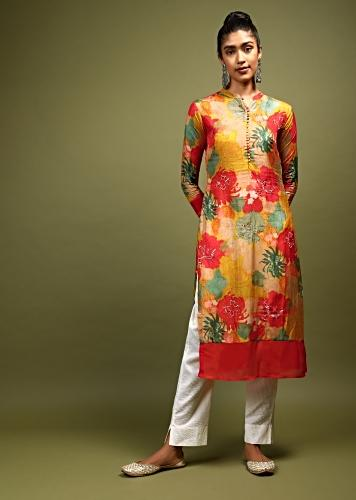 Yellow Kurti In Cotton With Multi Color Printed Floral Design And Embellished With Beads And Sequins Online - Kalki Fashion