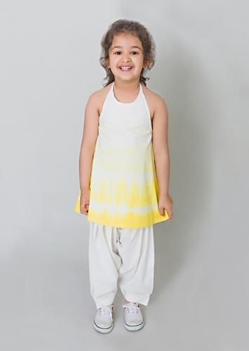 Yellow Ombre Salwar Suit Set In Cotton With Shibori Tie - Dye Print And Flower Tassels By Tiber Taber