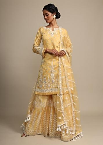 Yellow Palazzo Suit In Cotton Silk With Heavy Thread Embroidery Online - Kalki Fashion