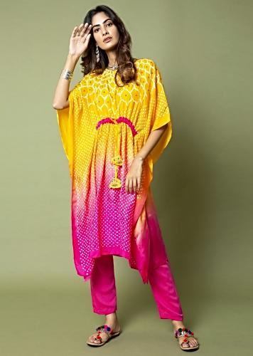 Yellow And Hot Pink Ombré Kaftan And Straight Pants Set With Bandhani And Hand Embroidery Online - Kalki Fashion