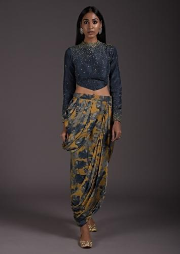 Yellow And Indigo Skirt In Satin Crepe With Cowl Drape And Floral Print Online - Kalki Fashion