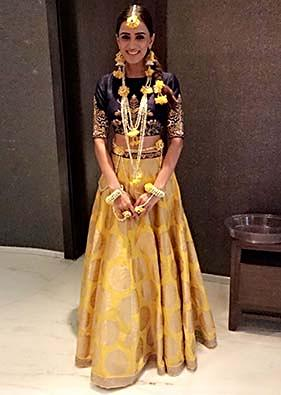 Yellow Crop Top Lehenga