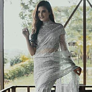 Sequins embroidered saree